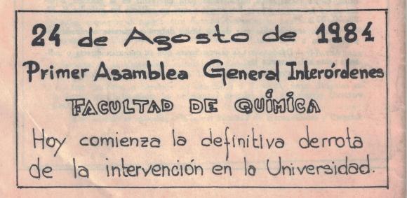Citación de primer asamblea general interórdenes